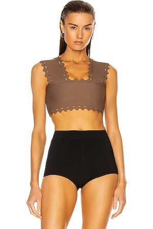 Alaïa Scalloped Edge Fitted Top in Savane