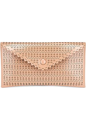 Alaïa Louise 24 Leather Perforated Clutch in Sable