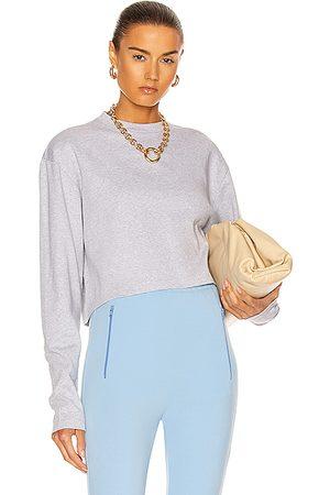 WARDROBE.NYC Women Crop Tops - Long Sleeve Crop Top in Grey Marl