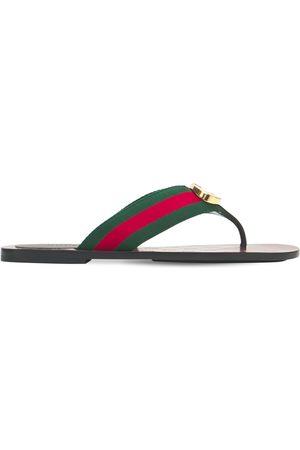 Gucci Women Platform Sandals - 10mm Gg Web Thong Sandals