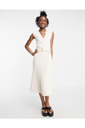 Morgan Belted midi skater dress with leather look pleated skirt in ivory