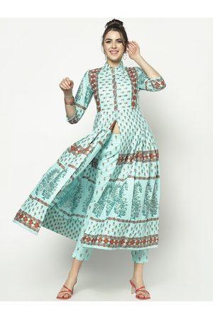 Sera Women Blue Ethnic Motifs Printed Flared Sleeves Anarkali Kurta