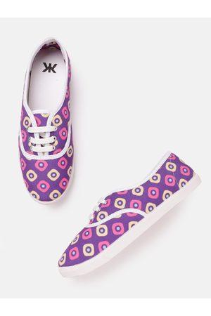 Kook N Keech Women Purple & Yellow Geometric Print Sneakers