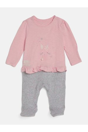 Mothercare Baby Sleepsuits - Infant Girls Pink & Grey Embroidered Pure Cotton Sleepsuit