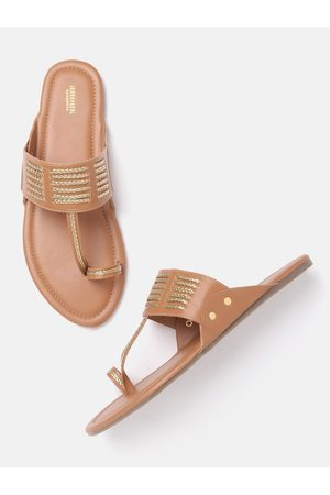 Anouk Women Tan Brown & Gold-Toned Braided Striped One Toe Flats