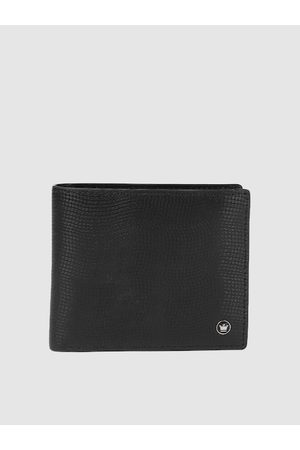 Louis Philippe Men Black Solid Leather Two Fold Wallet