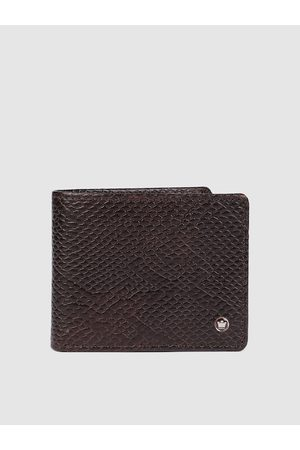 Louis Philippe Men Brown Animal Textured Leather Two Fold Wallet