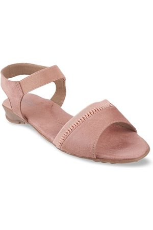 Metro Women Peach-Coloured Solid Open Toe Flats