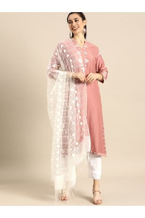 Varanga Women Rose & White Embroidered Kurta Set