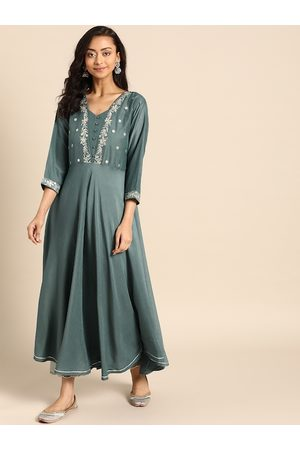 Varanga Women Teal Green Embroidered Kurta with Trousers