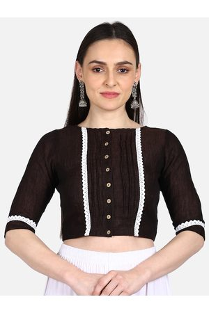 THE WEAVE TRAVELLER Women Ethnic Blouses - Women Brown & White Solid Non-Padded Readymade Saree Blouse