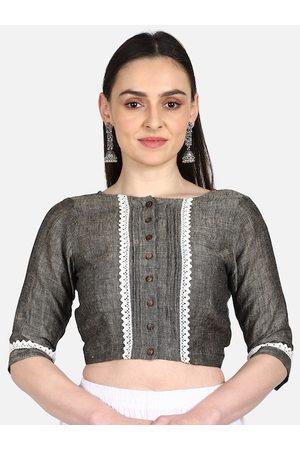 THE WEAVE TRAVELLER Women Grey Solid Linen Saree Blouse