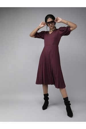 Rare Fashion Women Maroon Solid Accordion Pleated Fit and Flare Dress