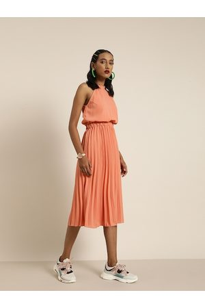 marie claire Women Dresses - Women Coral Solid Fit and Flare Dress