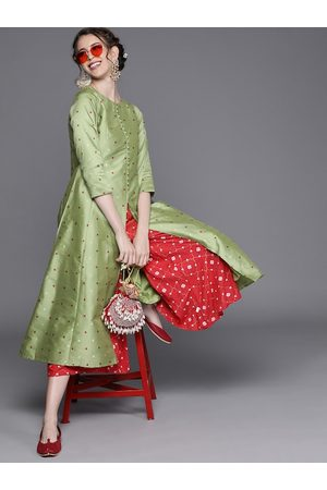 Inddus Women Green & Maroon Woven Design A-Line Kurta