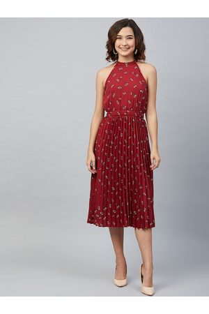Rare Fashion Women Maroon Printed Accordion Pleated Fit & Flare Dress