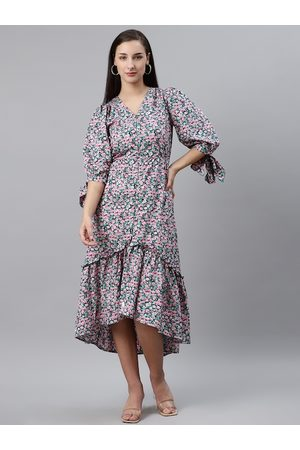 Pluss Women Green & Pink Floral Print Midi A-Line Dress