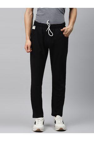 Hubberholme Men Black Solid Regular Fit Track Pants