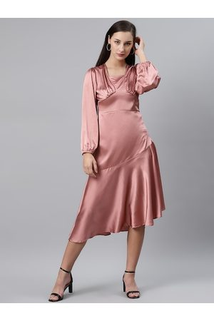 Pluss Women Pink Satin Finish Solid A-Line Dress