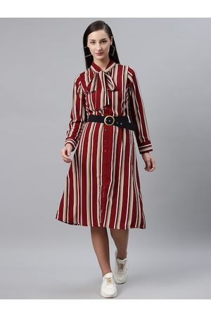 Pluss Women Maroon & White Striped Shirt Dress