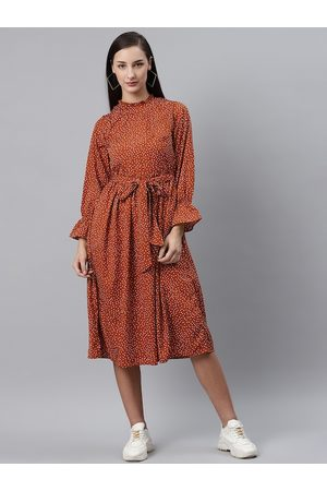 Pluss Women Rust Brown & White Dotted Print A-Line Dress with Belt