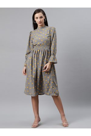 Pluss Women Grey & Yellow Polka Dot Print Fit & Flare Dress with Smocked Detail