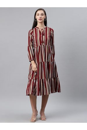 Pluss Women Maroon & White Striped Midi Tiered A-Line Dress