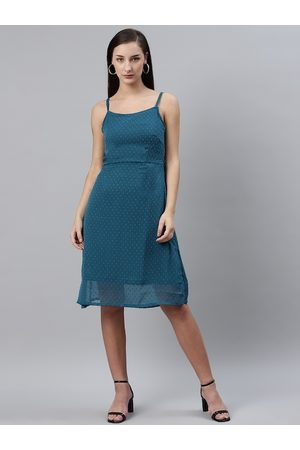 Pluss Women Teal Blue Dobby Weave A-Line Dress