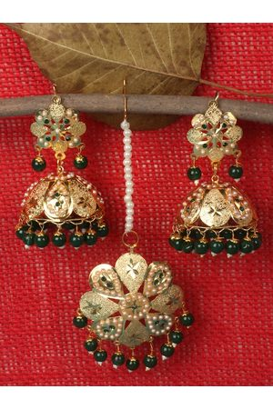 JEWELS GEHNA Women Jewellery Sets - Gold-Plated White & Green Pearl Beaded Jewellery Set