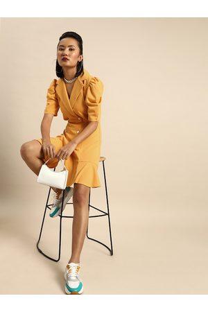 ATHENA Women Blazers - Women Yellow Solid Blazer Dress with Puff Sleeves