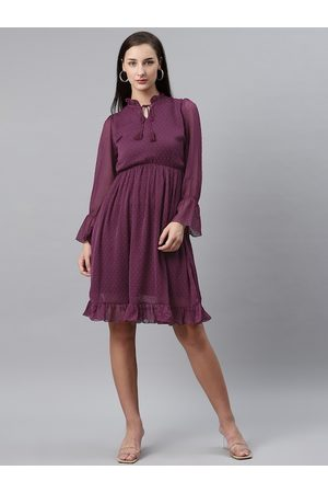Pluss Women Purple Dobby Weave A-Line Dress