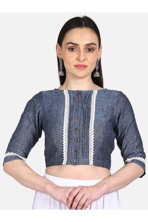 THE WEAVE TRAVELLER Women Blue & White Solid Linen Saree Blouse