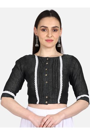 THE WEAVE TRAVELLER Women Ethnic Blouses - Women Charcoal Grey Solid Linen Saree Blouse