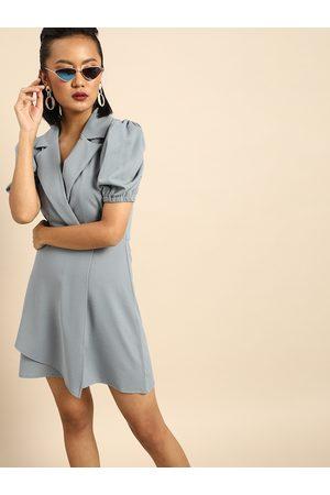 ATHENA Women Blazers - Women Grey Solid Blazer Dress with Puff Sleeves