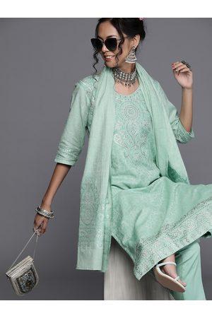 Inddus Women Sea Green & Silver Woven Design Kurta with Trousers & Dupatta