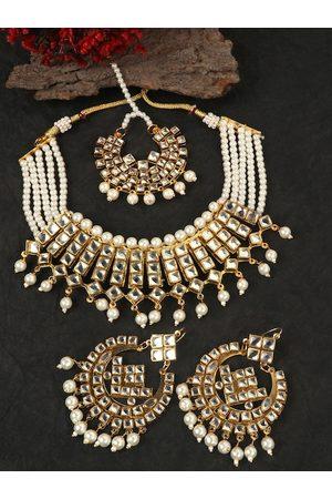 JEWELS GEHNA Gold-Plated White Stone-Studded & Beaded Jadau Jewellery Set