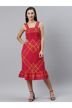 Pluss Women Pink & Orange Checked Midi A-Line Dress with Smocked Detail