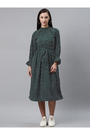 Pluss Women Green & White Dotted Print A-Line Dress with Belt