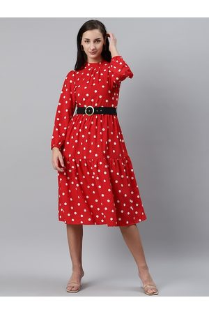 Pluss Women Red & White Polka Dot Print Fit & Flare Dress