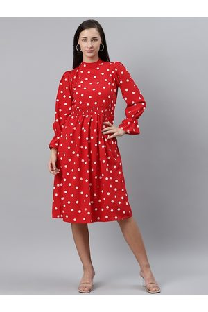 Pluss Women Red & White Polka Dot Print Fit & Flare Dress with Smocked Detail