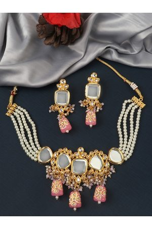 JEWELS GEHNA Gold-Plated White & Peach-Coloured Kundan-Studded & Beaded Jewellery Set