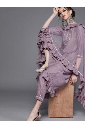 Inddus Women Purple Solid Kurta with Trousers & Dupatta