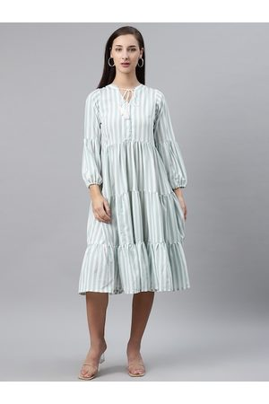 Pluss Women White & Sea Green Striped Midi Tiered A-Line Dress