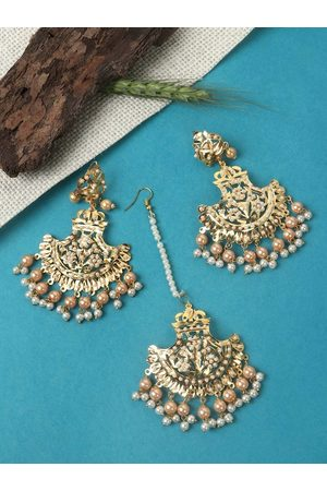 JEWELS GEHNA Gold-Plated White Pearl Beaded Jewellery Set