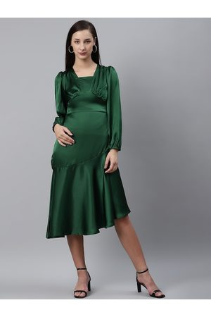 Pluss Women Dresses - Women Green Satin Finish Solid A-Line Dress