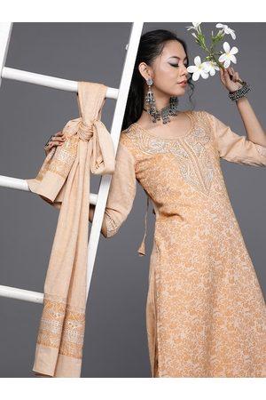 Inddus Women Peach-Coloured & Orange Woven Design Kurta with Trousers & Dupatta