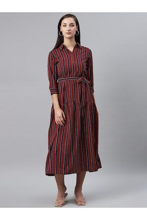 Pluss Women Maroon & Black Striped Midi A-Line Dress
