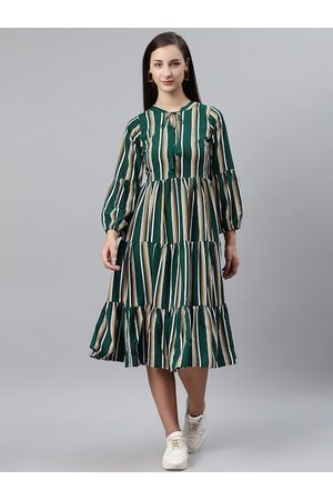 Pluss Women Green & White Striped Midi Tiered A-Line Dress
