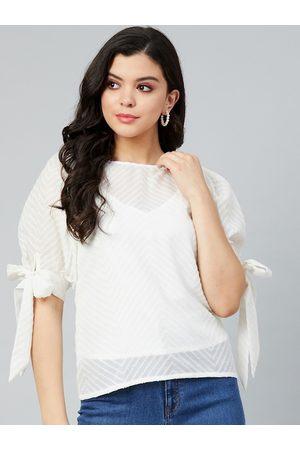 ATHENA Women White Puff Sleeves Georgette Regular Top