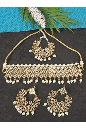 JEWELS GEHNA Gold-Plated White Pearl Beaded & Stone-Studded Jadau Traditional Jewellery Set